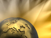 Gold Globe Close-up, Europe — Stock Photo