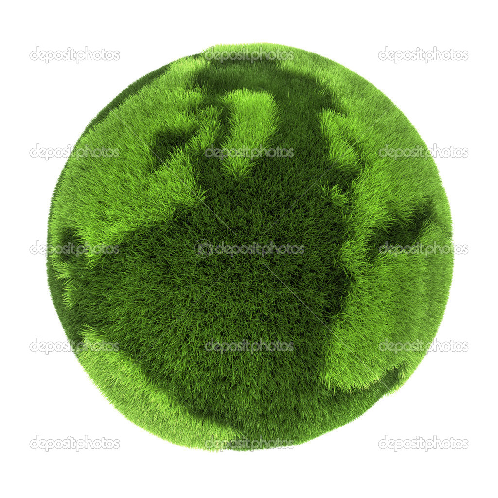 Earth made of green grass, 3D abstract rendering  Stock Photo #3567337