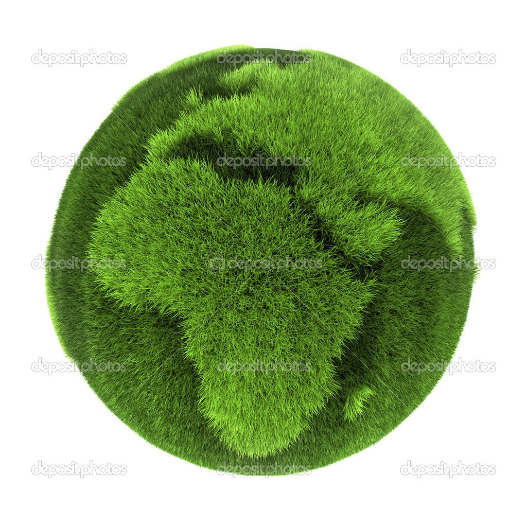 Earth made of green grass - Europe and Africa - 3D abstract rendering — Stock Photo #3567380