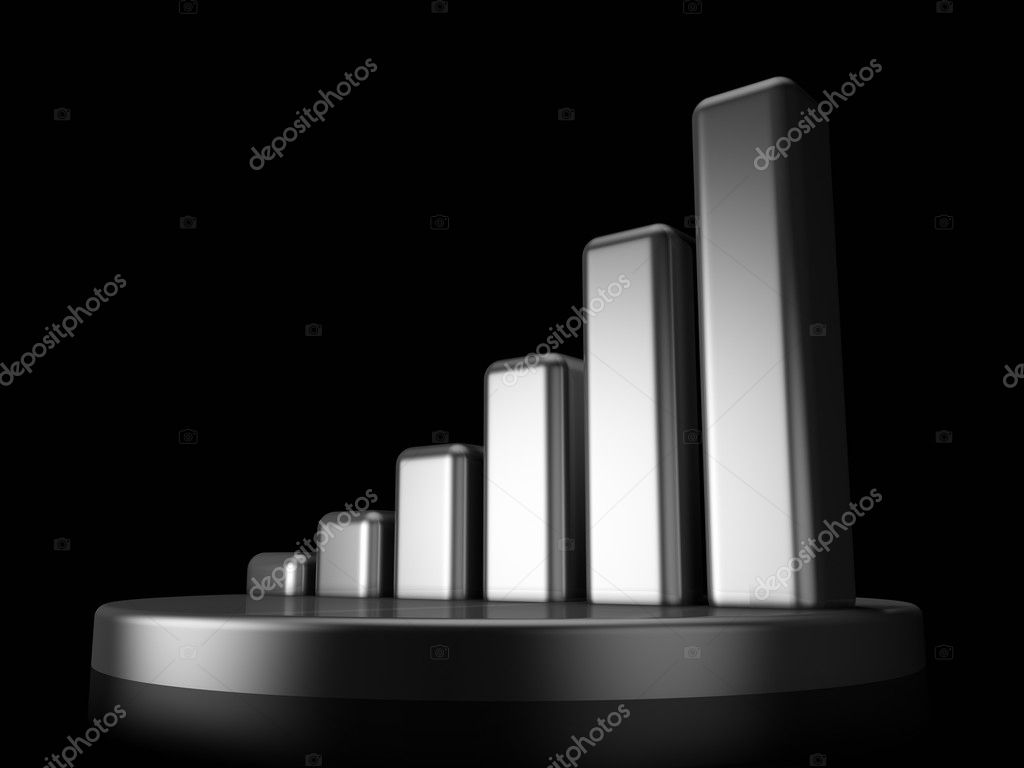 3D metallic shiny graph on a black background — Stock Photo #3567409