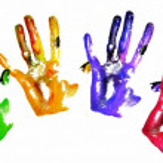 Coloured handprints — Stock Photo