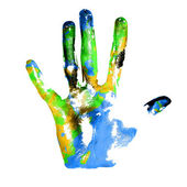 Earth handprints — Stock Photo