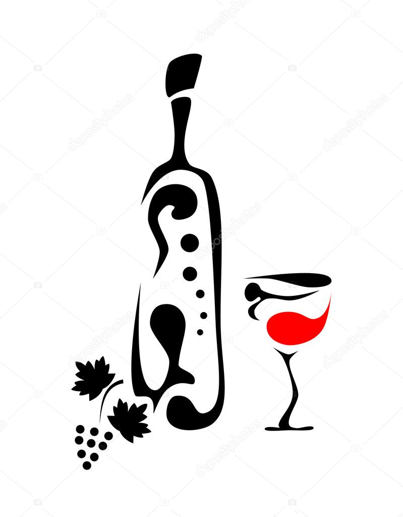 Abstract picture of wine bottle, wine glass and grapes — Stock Vector #3562715