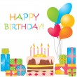 Vector birthday card - Stock Vector