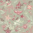 Seamless floral romantic wallpaper - Stock Vector
