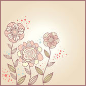 Roztomilý karta s květinami — Stock vektor