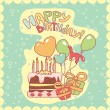 Happy birthday card - Vettoriali Stock