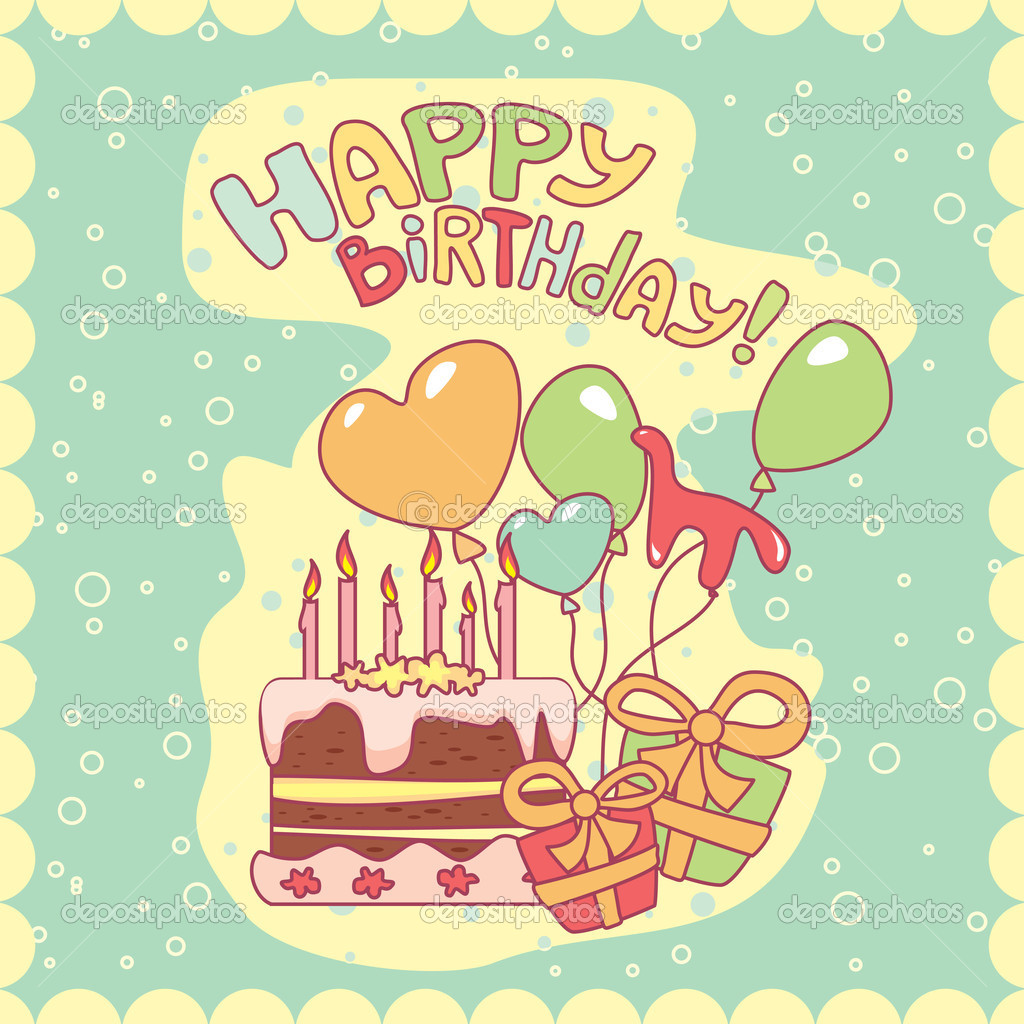 Happy birthday card, vector illustration — Stock Vector #2824139