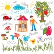 Child draw elements - Stockvectorbeeld
