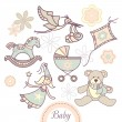 Stock Vector: Set of baby products