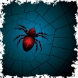 Spider on the web — Vector de stock