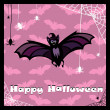 Greeting card with cute bat — Stok Vektör