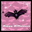 Greeting card with cute bat — ストックベクタ