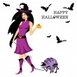 Beautiful witch — Stock Vector