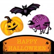 Stock Vector: Greeting cute halloween card