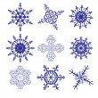 Stock Vector: Set of different snowflakes
