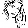 Silhouette of a girl — Stock Vector