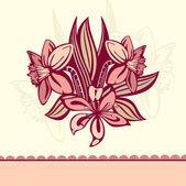 Retro kaart met bloemen — Stockvector