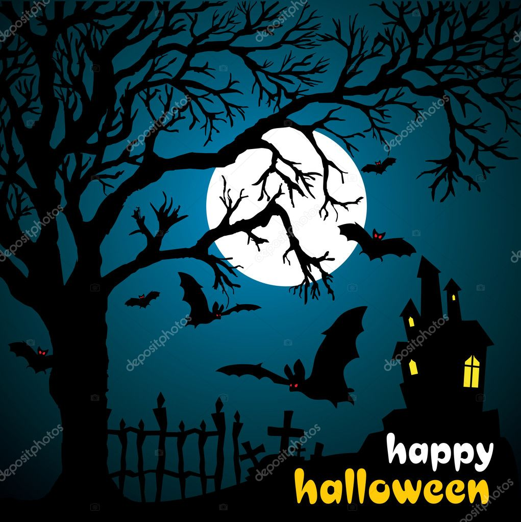 Halloween vector illustration scene with moon, bat and tree.  Stock Vector #2846471