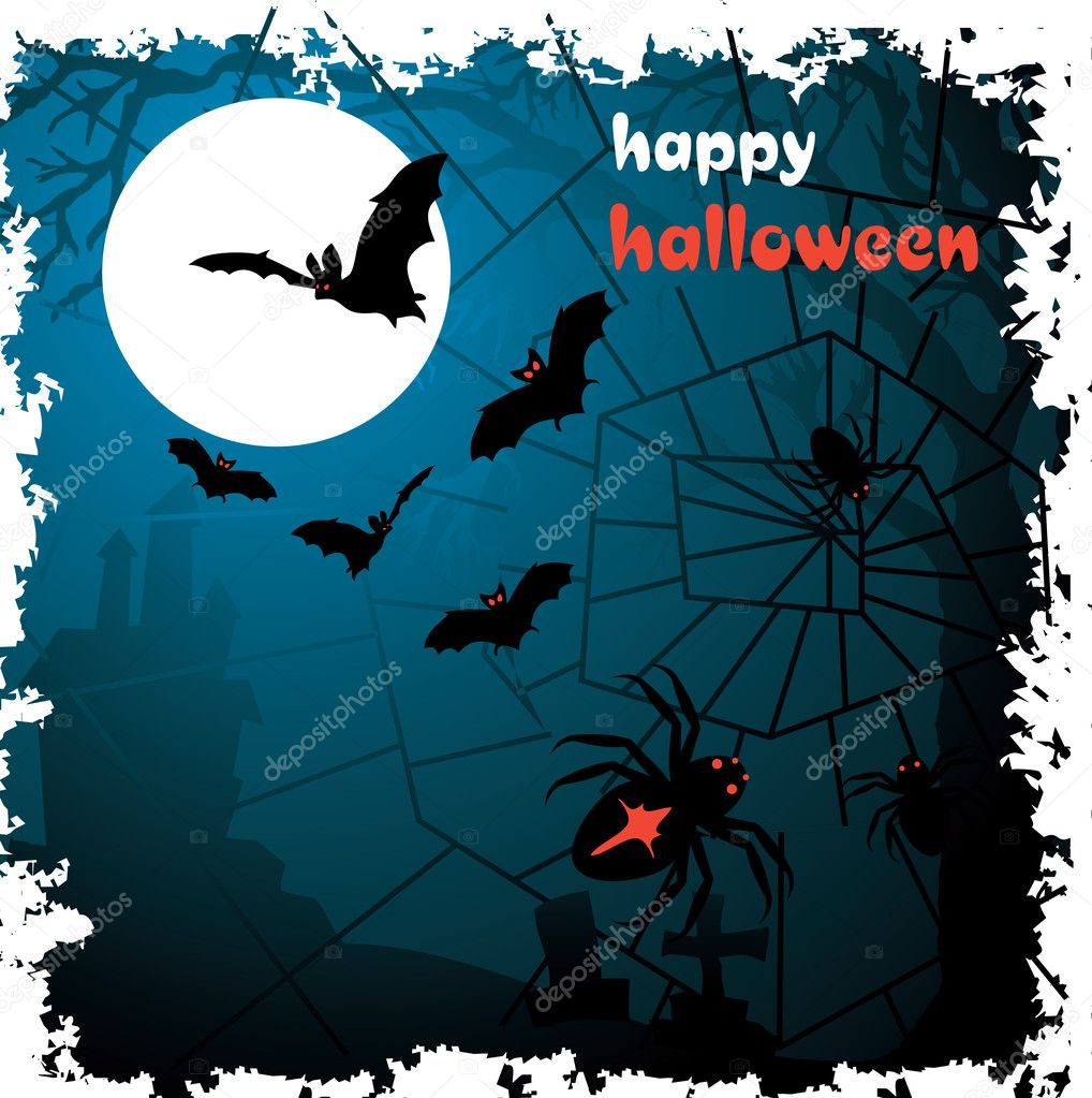 Halloween vector illustration scene with moon, spider, bat and tree. — Stok Vektör #2846480