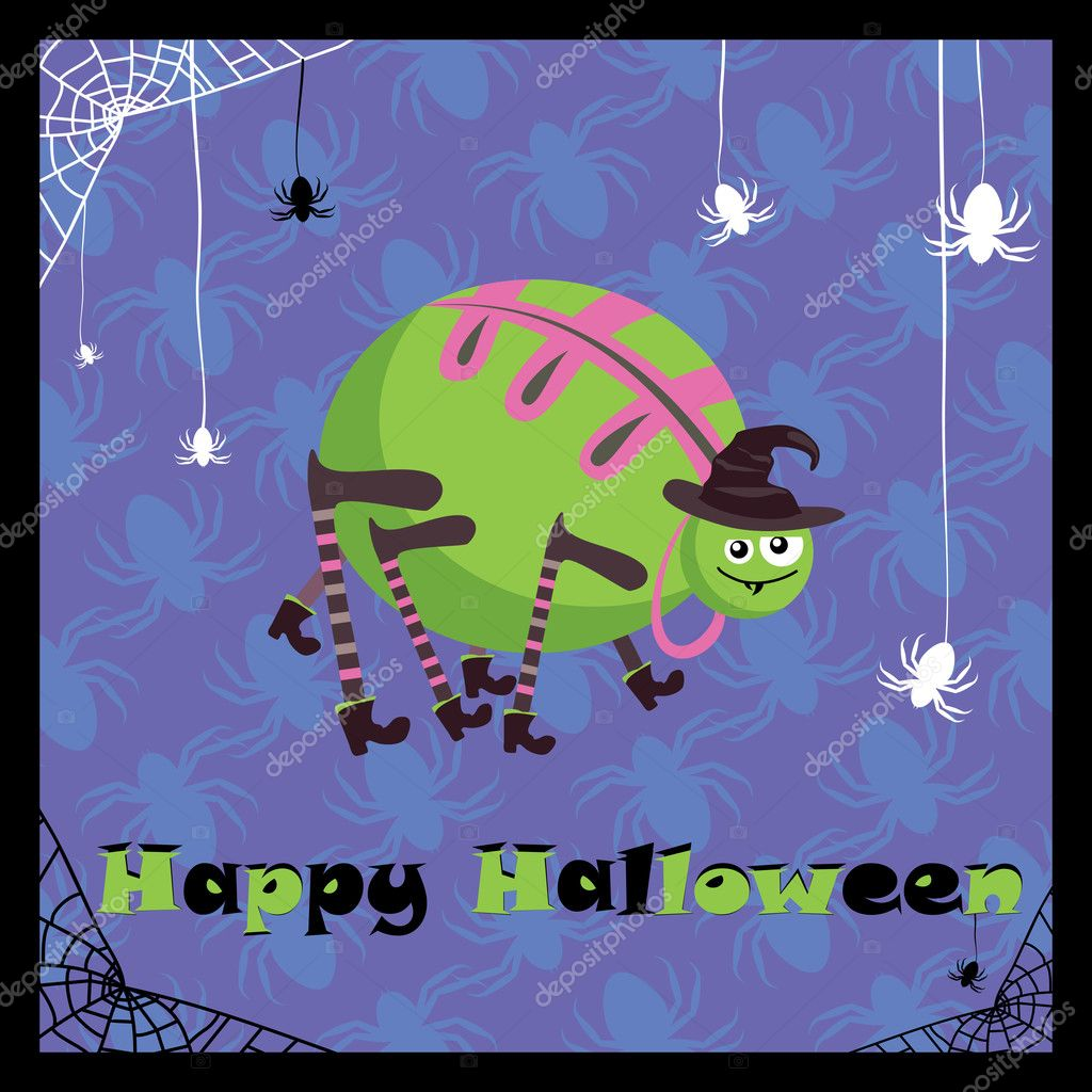 Greeting card with cute halloween spider — Stok Vektör #2846486