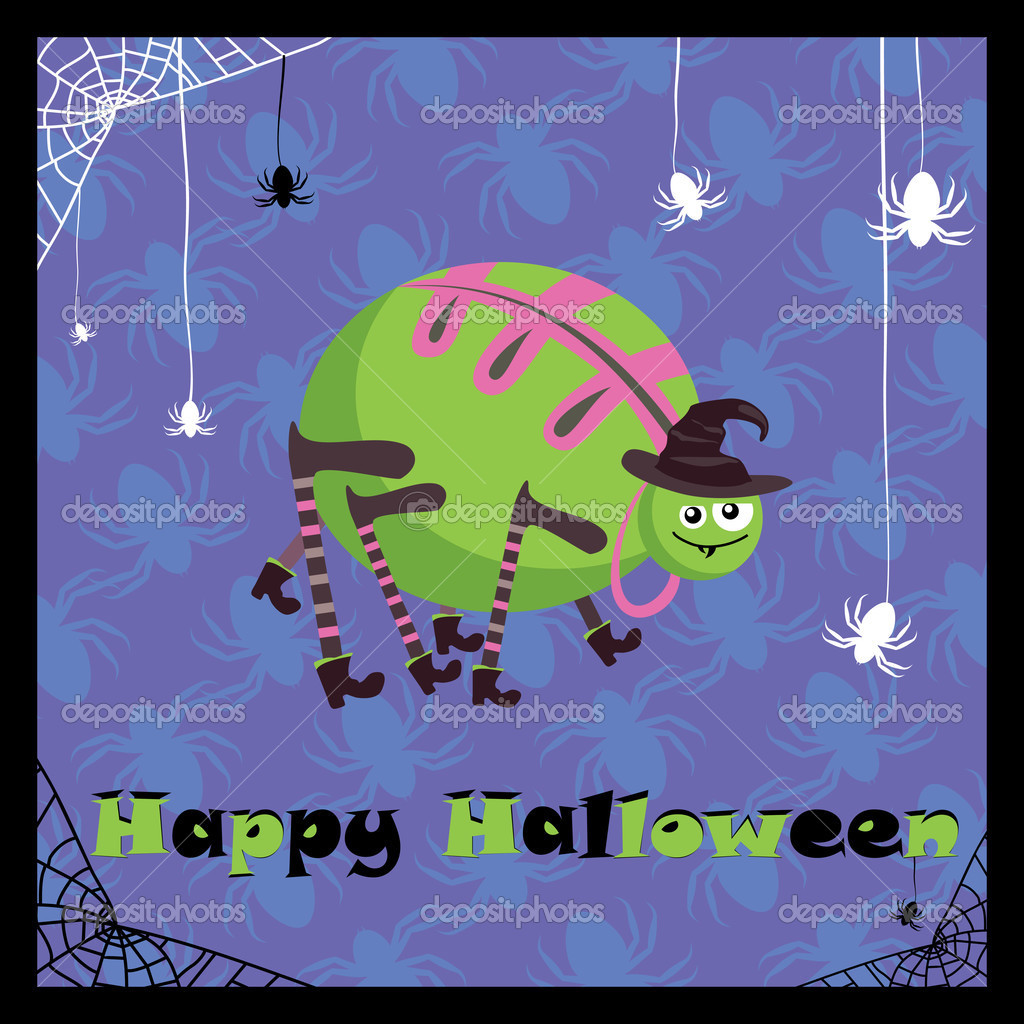 Greeting card with cute halloween spider — Imagen vectorial #2846486