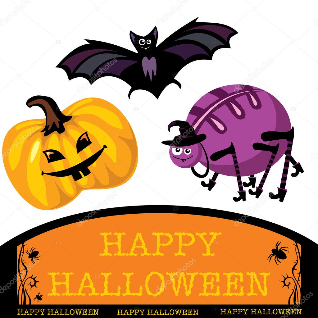 Greeting card with cute halloween bat, spider and pumpkin  Stock Vector #2846687