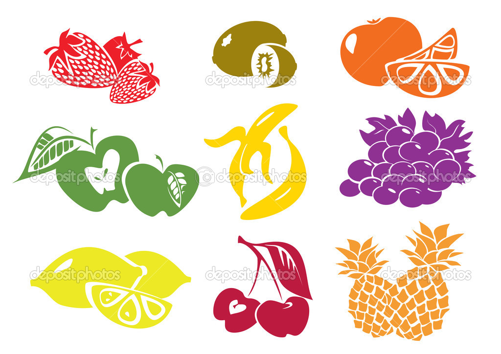 Icon set of various fruit — Stock Vector #2846739