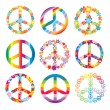 Set of peace symbols - Stok Vektör
