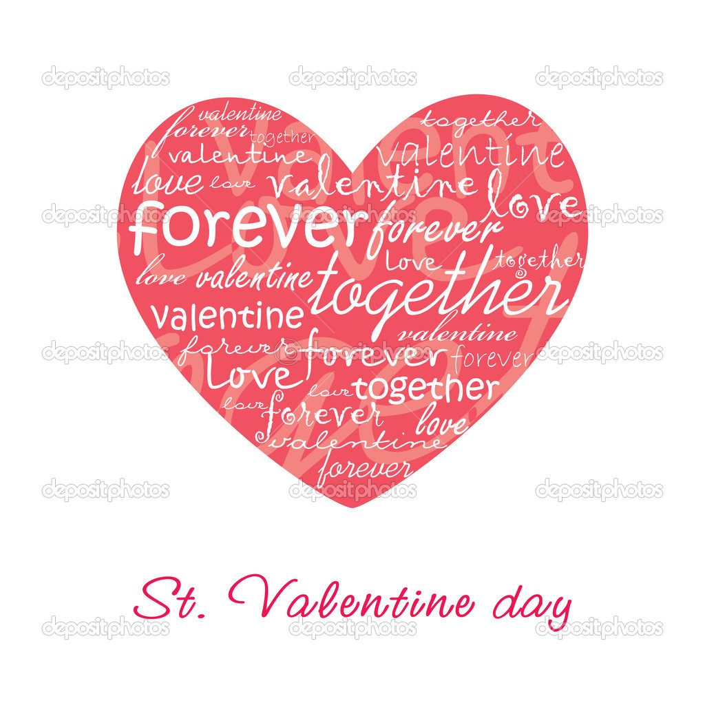 Valentine card illustration with heart  Stock Vector #2850556