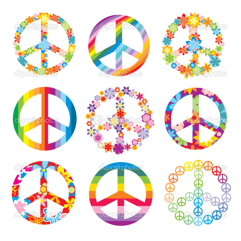 Set of cute peace symbols — Image vectorielle #2850603