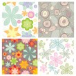 Collection of cute seamless wallpaper — Imagens vectoriais em stock
