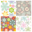 Collection of cute seamless wallpaper — Stock Vector
