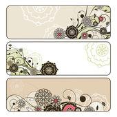 Abstracte schattig horizontale floral banners — Stockvector