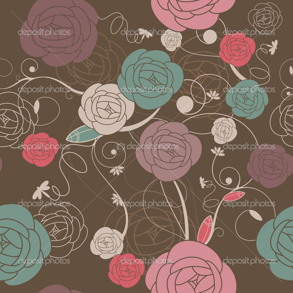 Seamless romantic wallpaper with roses vector illustration — Stock Vector #2876054