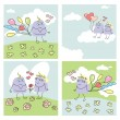 Set of funny cards - Stock Vector