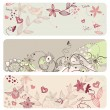 Vector de stock : Cute vector floral banners
