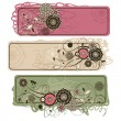 ストックベクタ: Abstract cute horizontal floral banners