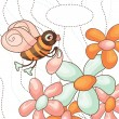 Stock Vector: Vector cute bee collects nectar