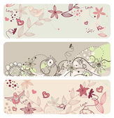 Cute vector floral banners — Stockvektor