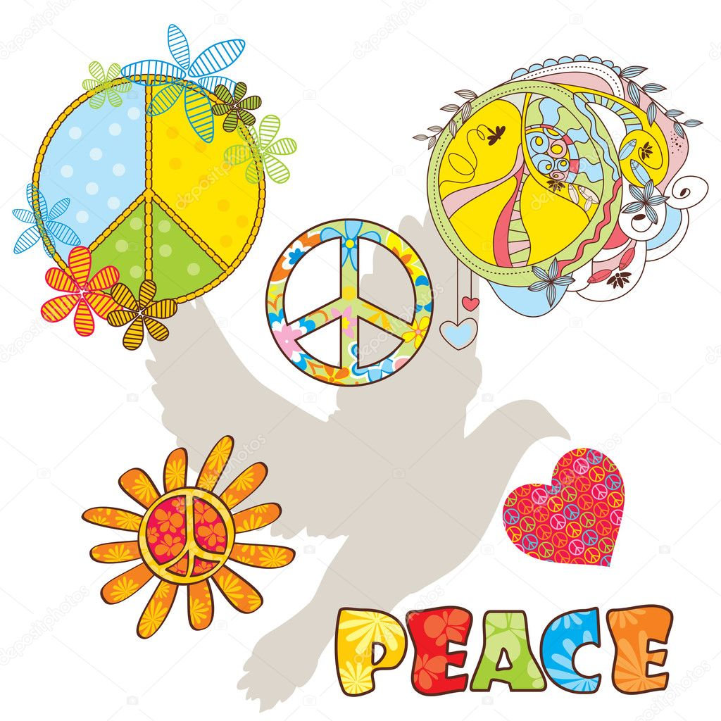 Set of various peace symbols vector illustration — Stock Vector #2898756