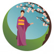 Japanese woman in traditional clothes - Stock Vector