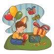 Child with birthday present — Vector de stock #3646834