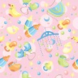 Seamless cute baby background - Stock Vector
