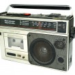 Dirty old 1980s style cassette player ra - 图库照片