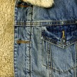 Denim Jacket Pocket Detail with Sheep Sk — Stock Photo #2797960