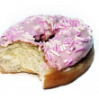 Part eaten iced ring donut with a bit ta — Stock Photo