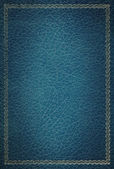 Old blue leather texture with gold decor — Stock Photo