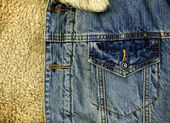 Denim Jacket Pocket Detail with Sheep Sk — Stock Photo