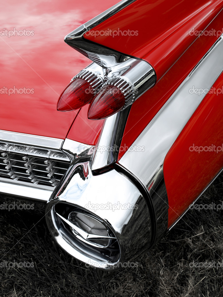 Classic car tail fin and light